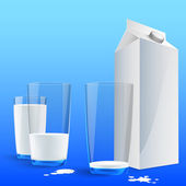 Glass of milk with a big blank milk pack. Vector — Stock Vector
