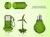 Green energy icon. vector illustration for environmental concept — Stock Vector