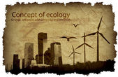 Grungy, old paper with a big city and windmills. concept of ecology — Stock Vector