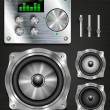 Stock Vector: Management console speaker system. set knovok and regulators, display, equalizer and clock