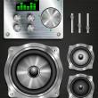 Management console speaker system. set knovok and regulators, display, equalizer and clock — Stock Vector