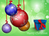 多彩多姿的圣诞球丝带和礼品盒 — 图库矢量图片