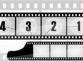 Old movie countdown, film — Stockvector