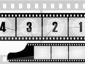 Vieux compte à rebours film, film — Vecteur