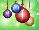 Mångfärgade julgranskulor med band och presentförpackning — Stockvektor