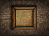 Old frame on a brick wall — Stock Vector