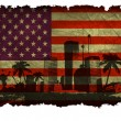 Urban cities with large palm trees on an old American flag — Stock Vector