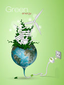 The concept of clean energy on the planet — Stock Vector