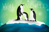 Couple of penguins sitting on an ice floe — Stock Vector