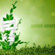 Concept of green energy, energy saving bulb with leaves — Stock Vector #20054083
