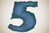 Pantalones vaqueros figura 5, figura y carta de textura de los pantalones vaqueros — Vector de stock