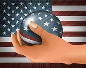 Amerikanska flaggan med bollen i handen — Stockvektor