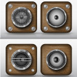 Royalty-Free Stock Vector Image: Set of vector icons applications of wood, speakers