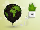 Green grass and socket plug. the concept of clean energy — Stock Vector