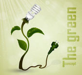 Green plug with energy-saving light bulb and grass. the concept of clean energy — Stock Vector