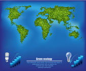 Green map out of the grass with the oceans and environmental diagrams — Stock Vector