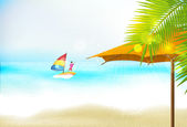 Romantic beach azure coast with beach umbrellas — Stock Vector