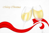 Two glasses of champage with ribbons — Vector de stock