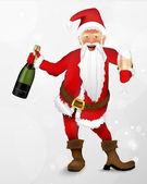 Santa claus se šampaňským — Stock vektor