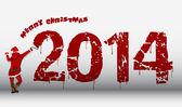 Noel Baba 2014 yılına duvarda yazılı — Stok Vektör