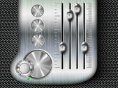 Vector buttons with metallic mixing console faders — Vettoriale Stock
