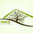 Eco green house with tree — Stock Vector #35783207