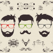 Vector set. hair, mustache, beard — Stock Vector