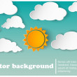 Sunny-cloudy background paper — Stock Vector