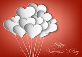 Balloons hearts from paper Valentine's Day — Vector de stock