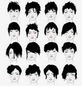 Set of women's hairstyles — Stock Vector