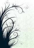 Lignes abstraites avec des fleurs — Vecteur