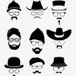 Hats with sunglasses and mustache — Stock Vector