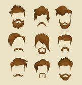 Mustache, beard and hairstyle hipster — Stock Vector