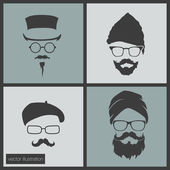 Icons hairstyles beard and mustache — Stock Vector