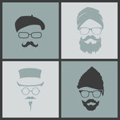 Icons hairstyles beard and mustache hipster — Stock Vector