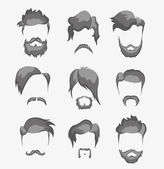 Mustache, beard and hairstyle hipster — Vecteur