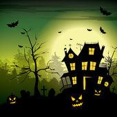 可怕的房子-万圣节背景 — 图库矢量图片