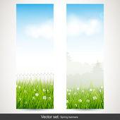 Bannières verticales de printemps — Vecteur