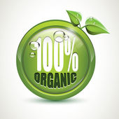 100 percent Organic - glossy icon — Stock Vector