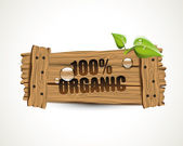 100 percent Organic - wooden icon — 图库矢量图片