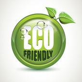 эко дружественных - глянцевый значок — Cтоковый вектор