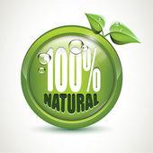 100% натуральный - глянцевый значок — Cтоковый вектор