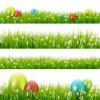 Grass with eggs - vector set — 图库矢量图片