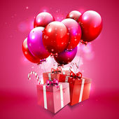 Pink background with balloons and gifts — Vector de stock