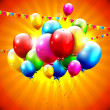 Flying colorful balloons on orange background — Image vectorielle