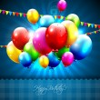 Colorful birthday balloons on blue background — Векторная иллюстрация