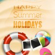 Happy summer holidays - vector poster — Stock Vector