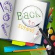 Back to school - vector background — Stok Vektör