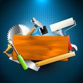 Herramientas de construcción - fondo de carpintería — Vector de stock