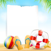 Summer beach background with empty paper — ストックベクタ